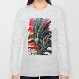 Southwest-western Style Desert Agave in Sunrise Long Sleeve T-shirt