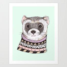 Hipster Ferret Art Print