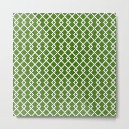 Leaf Green Diamond Pattern Metal Print