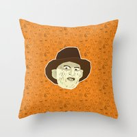 freddy krueger Throw Pillows featuring Freddy Krueger by Kuki
