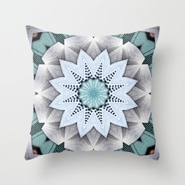Turquoise Layers Mandala Throw Pillow