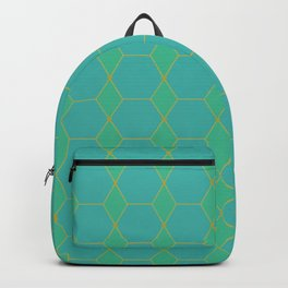 Blue and Green Hexagons Backpack