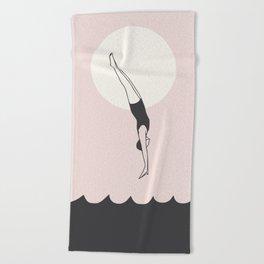 Diver in pink Beach Towel