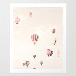 Hot Air Balloons, White Art Print