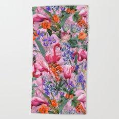 Floral and Flemingo VI pattern Beach Towel