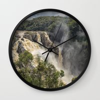 geology Wall Clocks featuring Beautiful Barron Falls by Wendy Townrow