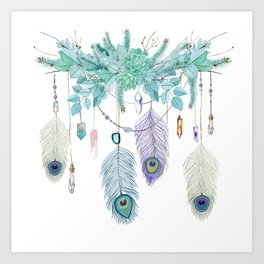 Peacock And Eucalyptus Crystal Spirit Gazer Art Print