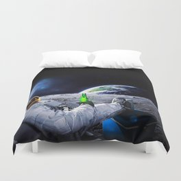Astronaut on the Moon with beer Duvet Cover