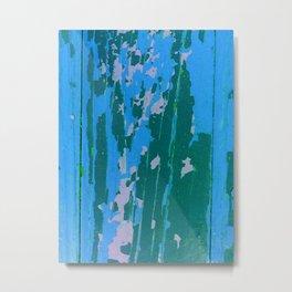 Blue Peeling Paint Metal Print