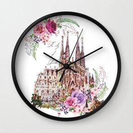Barcelona Spain La Sagrada Familia Vintage Wall Clock