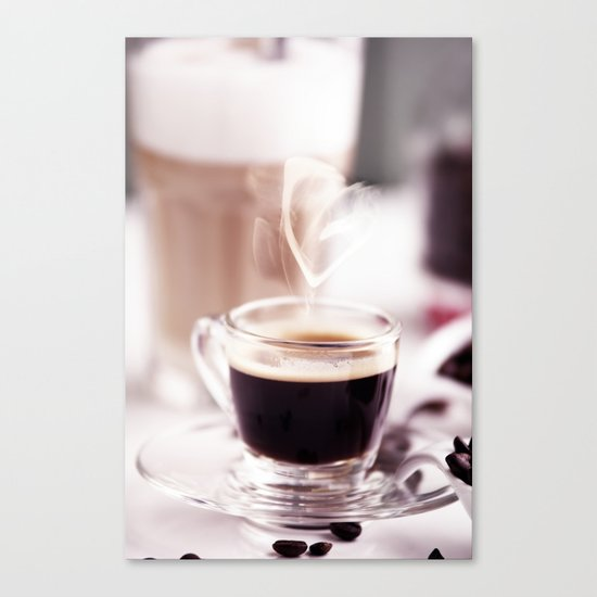 Coffee with heart Canvas Print