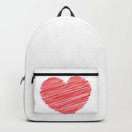 RED HEART SCRIBBLES Pop Art Backpack