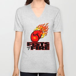 Fists Of Fire Unisex V-Neck