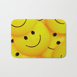 Fun Cool Happy Yellow Smiley Faces Bath Mat