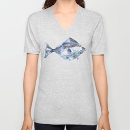 Flat Fish Watercolor Unisex V-Neck