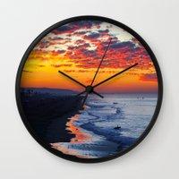 calendars Wall Clocks featuring Sunrise Huntington Beach Pier   12/12/13 by John Minar Fine Art Photography