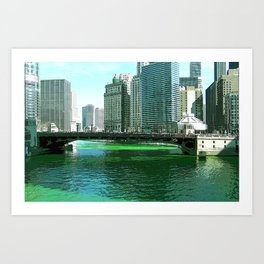Chicago River on St. Patrick's Day #Chicago Art Print