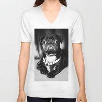 pug V-neck T-shirts featuring Pug by Falko Follert Art-FF77