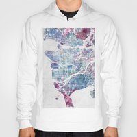 vancouver Hoodies featuring Vancouver map by MapMapMaps.Watercolors