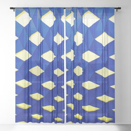 Trapez 2/5 Blue & Yellow by Brian Vegas Sheer Curtain