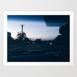 Driving into the sunset Art Print