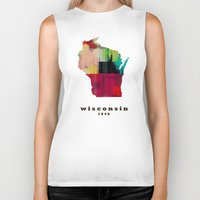 wisconsin Biker Tanks featuring Wisconsin state map modern by bri.buckley