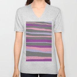 Gray Purple Lavender Brush Stroke Unisex V-Neck