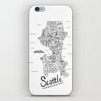 seattle iPhone & iPod Skins featuring Seattle Map by Claire Lordon