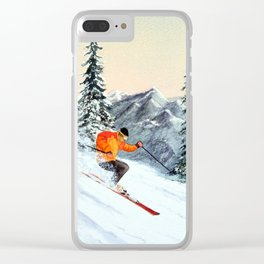 Let's Go Skiing Clear iPhone Case