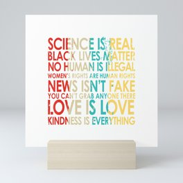 Science Is Real, Kindness Is Everything Vintage Style T-Shirt Mini Art Print