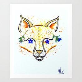 Blue Hawaiian Fox Art Print