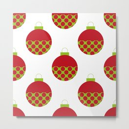 Polka dot Xmas decorations Metal Print
