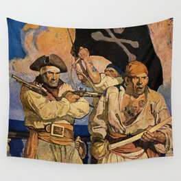 """""""Pirates"""" Treasure Island Cover by NC Wyeth Wall Tapestry"""