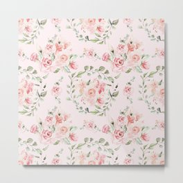 Rose Blush Watercolor Flower Pattern Metal Print