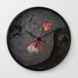 Leaves In a Puddle Wall Clock