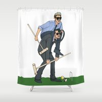 liam payne Shower Curtains featuring Liam and Niall Play Croquet by Ashley R. Guillory