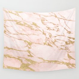 Blush pink abstract gold glitter marble Wall Tapestry