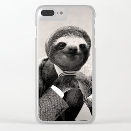 Gentleman Sloth #3 Clear iPhone Case