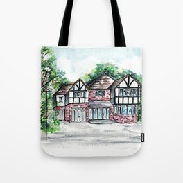 English Tudor-Style House, Watercolour Painting Tote Bag