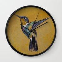 hummingbird Wall Clocks featuring Hummingbird by Michael Creese