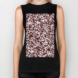 Small Spots - White and Bulgarian Rose Red Biker Tank