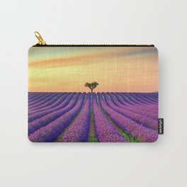 Tree and Lavender Fields at Sunset Carry-All Pouch