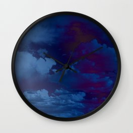 Clouds in a Stormy Blue Midnight Sky Wall Clock