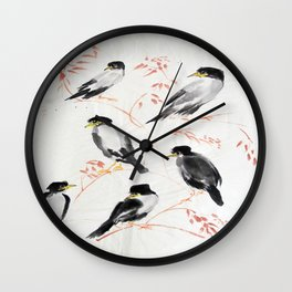 A school of magpies Wall Clock