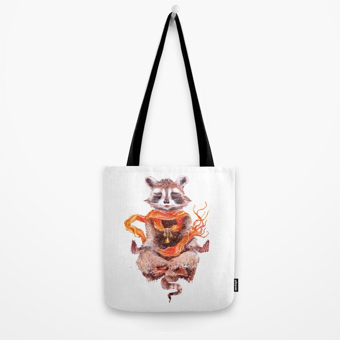 Raccoon buddha w Tote Bag