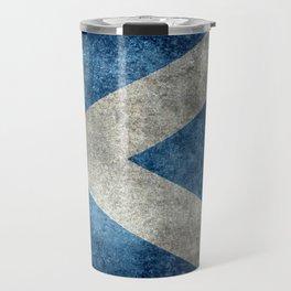 Flag of Scotland, Vintage retro style Travel Mug