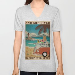 And She Lived Happily Ever After Beach Dog Hippie Unisex V-Neck