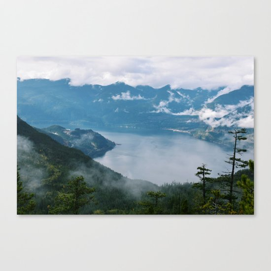 Fog over the water in Squamish BC Canvas Print