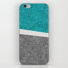 Digital Pen & Ink: Turquoise & Black Doodles iPhone & iPod Skin