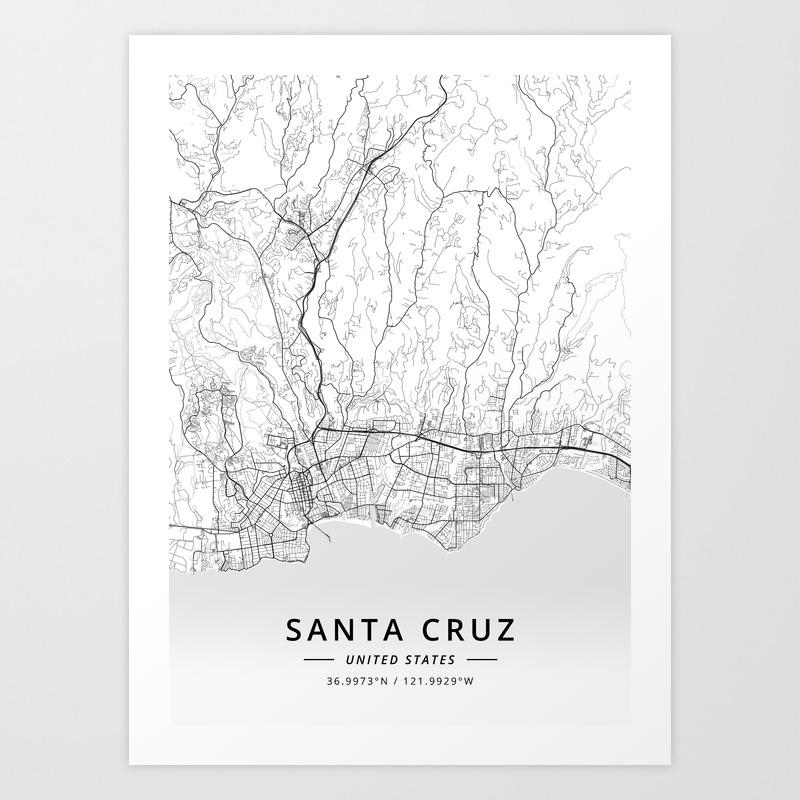 Santa Cruz, United States - Light Map Art Print on golden gate bridge on us map, cupertino on us map, irvine on us map, sonoma on us map, san gabriel on us map, reno on us map, saint augustine on us map, orange county on us map, little rock on us map, mount shasta on us map, san clemente on us map, torrance on us map, arcadia on us map, burbank on us map, stockton on us map, oakland on us map, madison on us map, alamo on us map, columbia on us map, mt. lassen on us map,